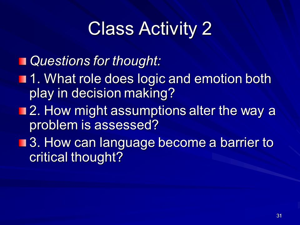 Class Activity 2 Questions for thought: