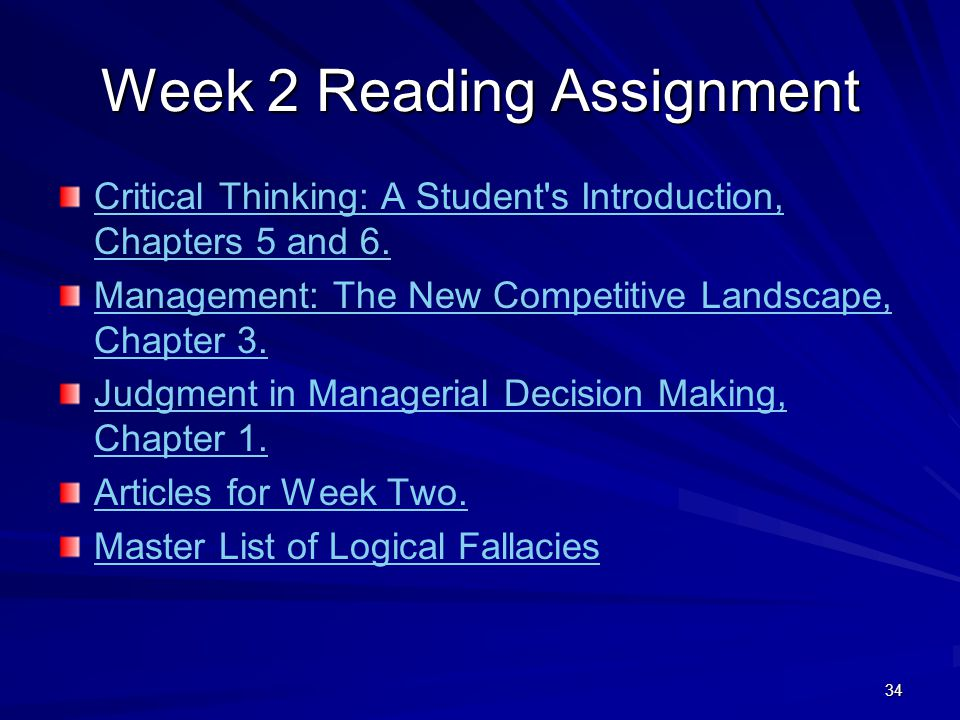 Week 2 Reading Assignment
