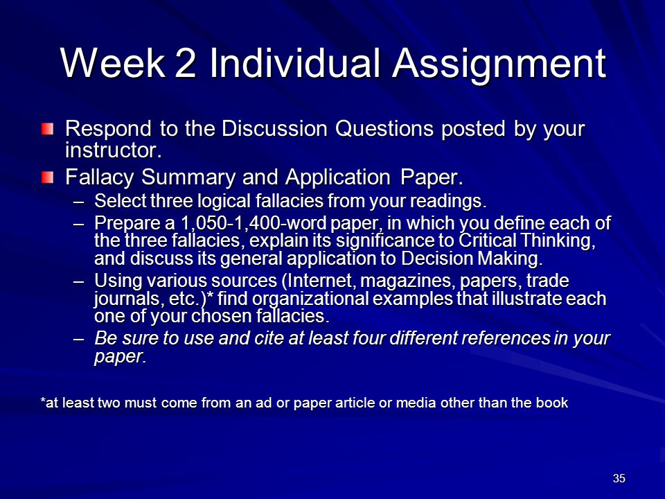 Week 2 Individual Assignment