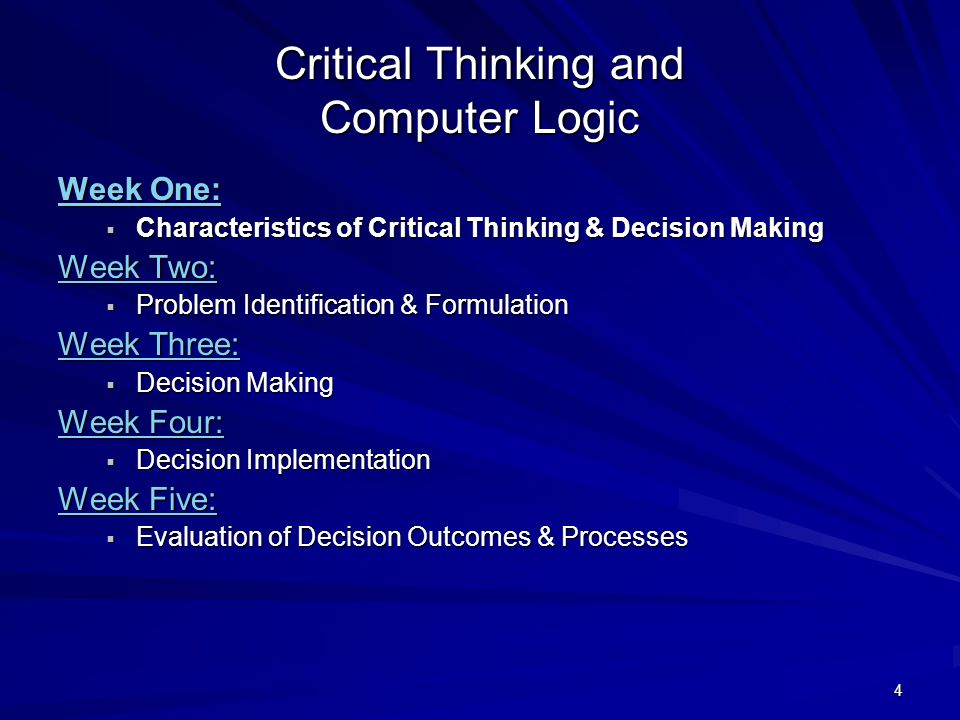 characteristics of critical thinking and decision making