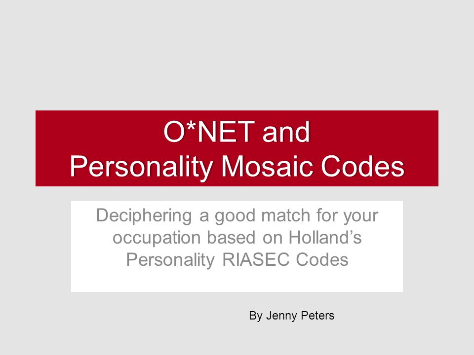 O*NET and Personality Mosaic Codes