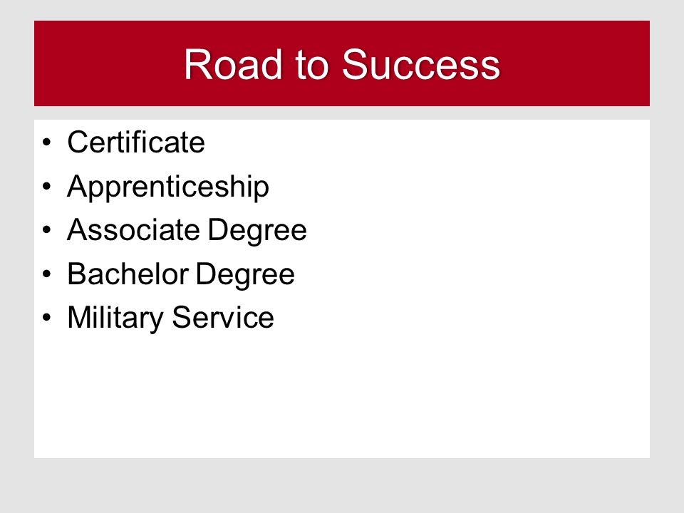 Road to Success Certificate Apprenticeship Associate Degree