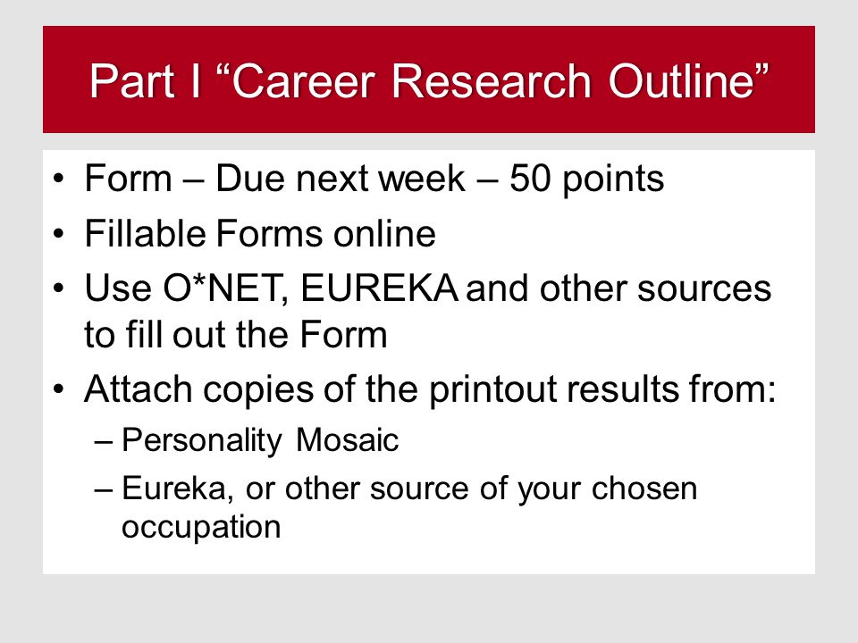 Part I Career Research Outline