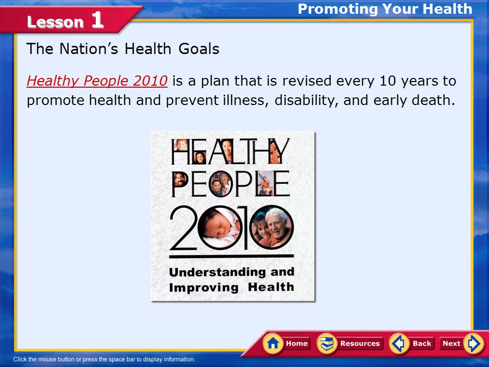 The Nation's Health Goals