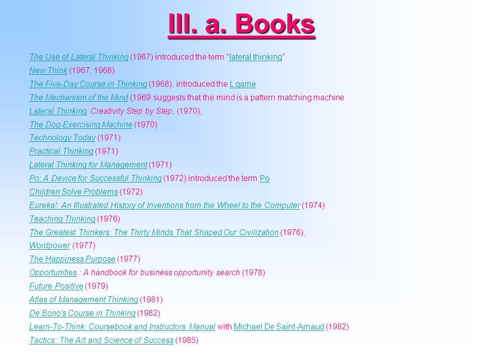 III. a. Books