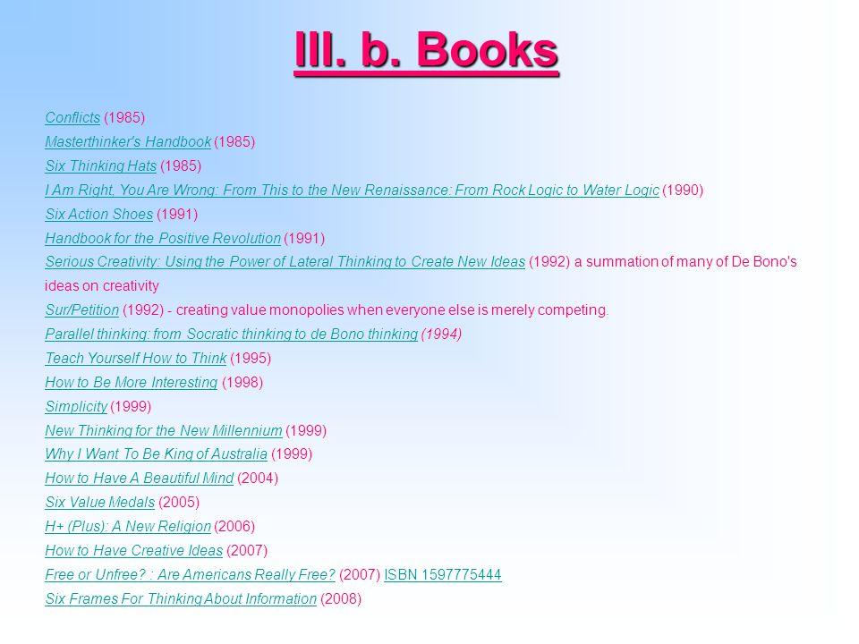 III. b. Books Conflicts (1985) Masterthinker s Handbook (1985)