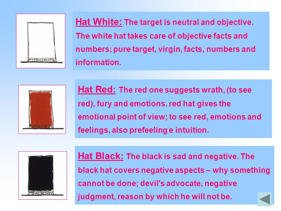 Hat White: The target is neutral and objective