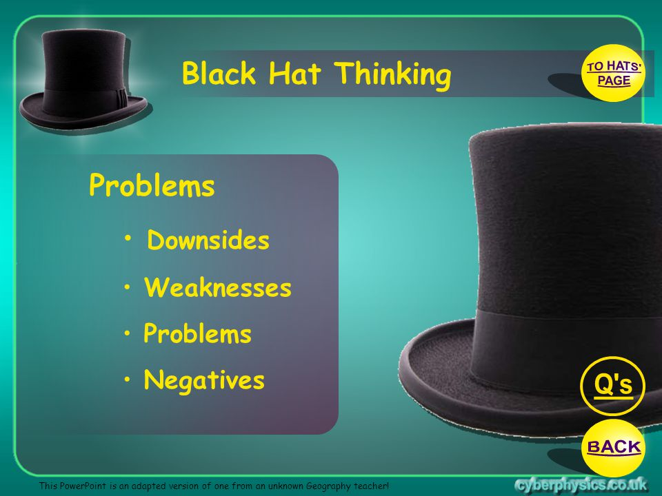 TO HATS PAGE Q s BACK Black Hat Thinking Problems Downsides