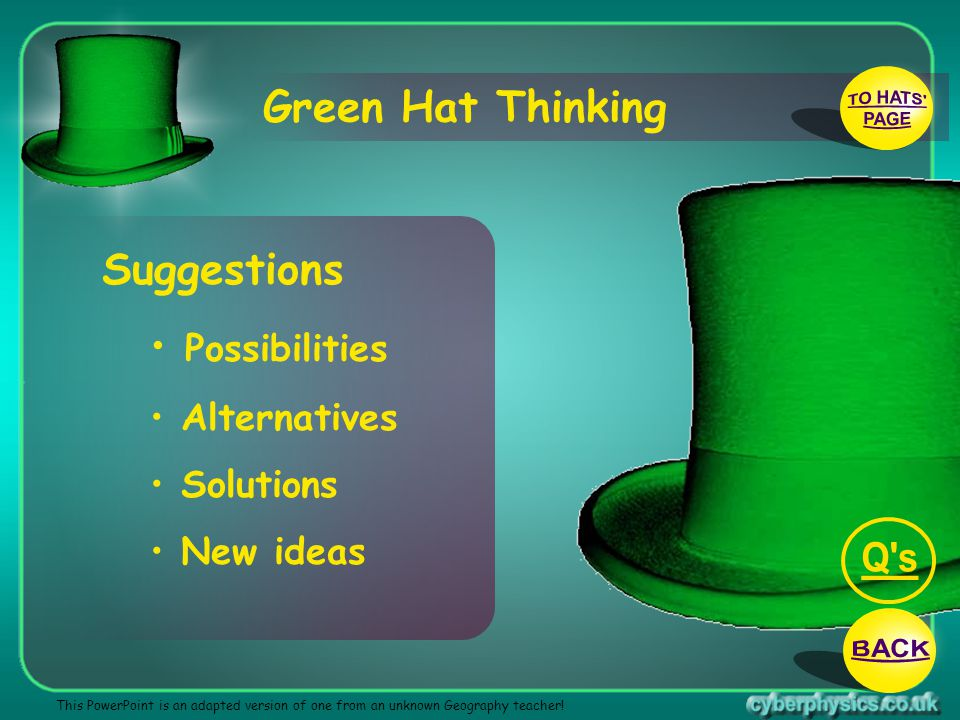 TO HATS PAGE Q s BACK Green Hat Thinking Suggestions Possibilities