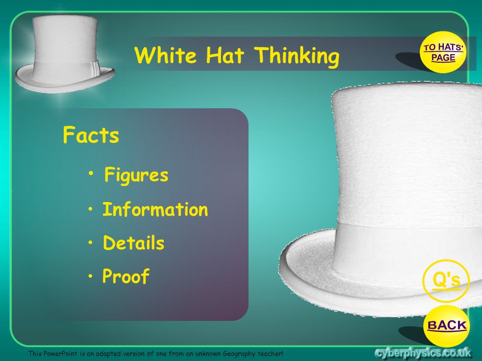 TO HATS PAGE Q s BACK White Hat Thinking Facts Figures Information