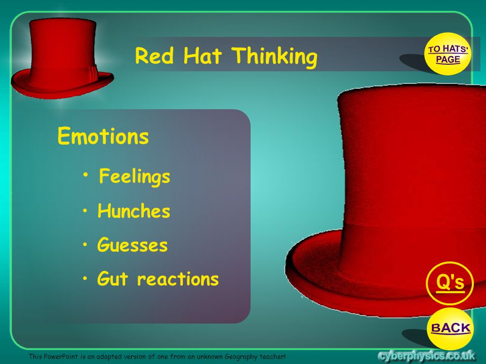 TO HATS PAGE Q s BACK Red Hat Thinking Emotions Feelings Hunches