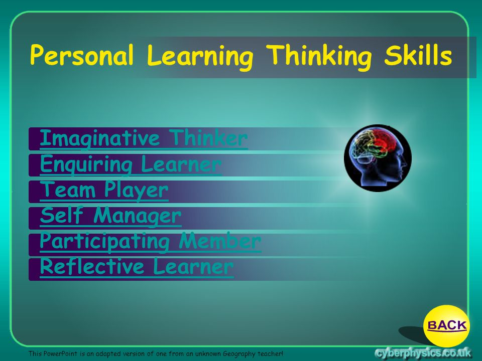 Personal Learning Thinking Skills