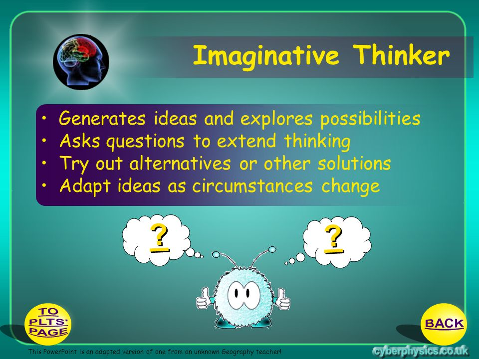 Imaginative Thinker TO BACK PLTS PAGE