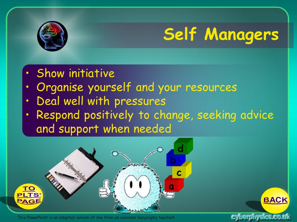 Self Managers TO PLTS BACK PAGE Show initiative