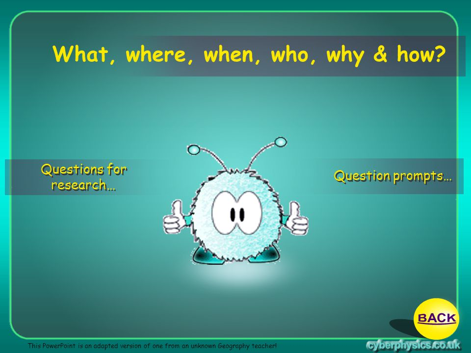 BACK What, where, when, who, why & how Questions for research…