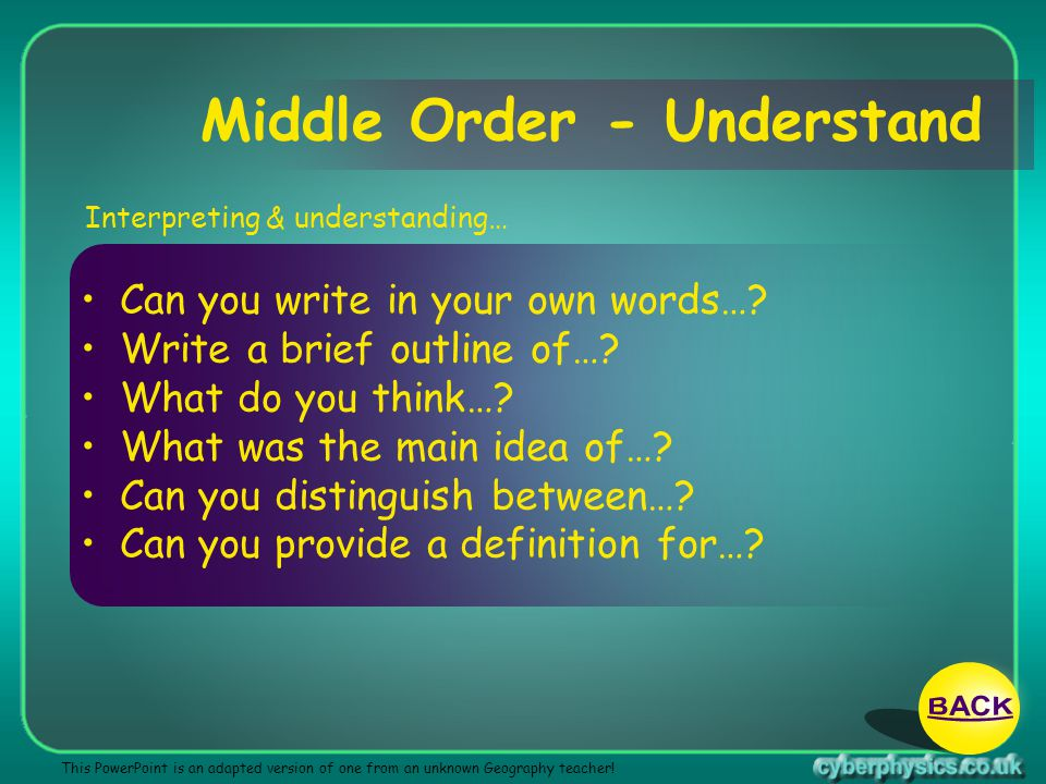 Middle Order - Understand