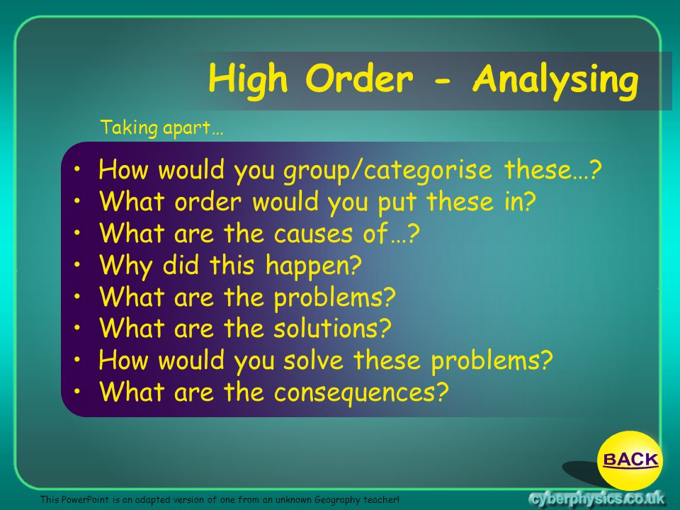 High Order - Analysing BACK How would you group/categorise these…