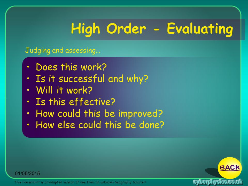 High Order - Evaluating