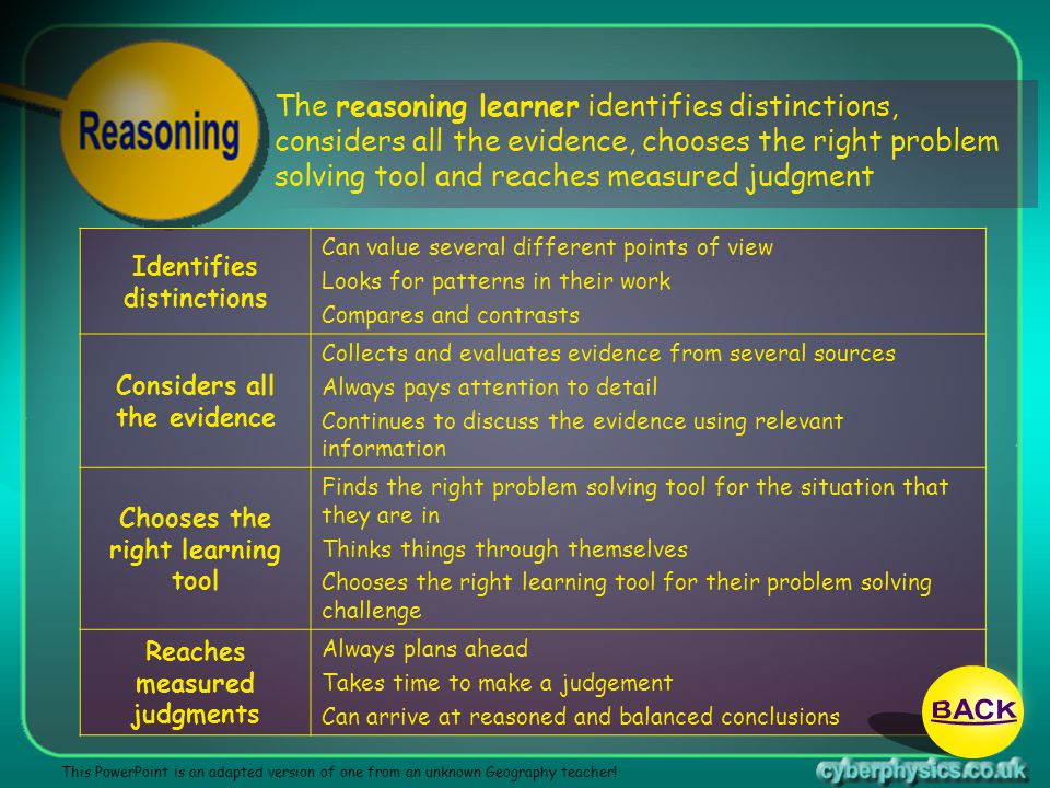 BACK The reasoning learner identifies distinctions,