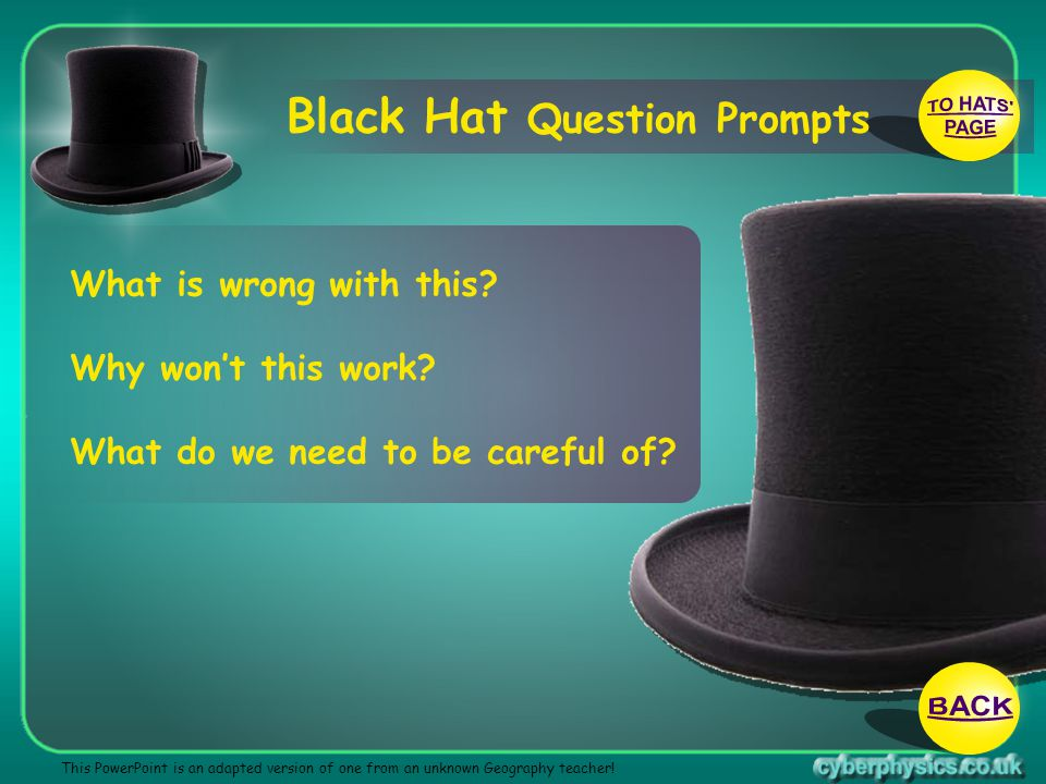 TO HATS PAGE BACK Black Hat Question Prompts What is wrong with this