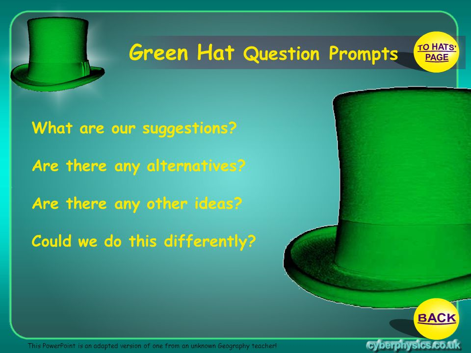 TO HATS PAGE BACK Green Hat Question Prompts