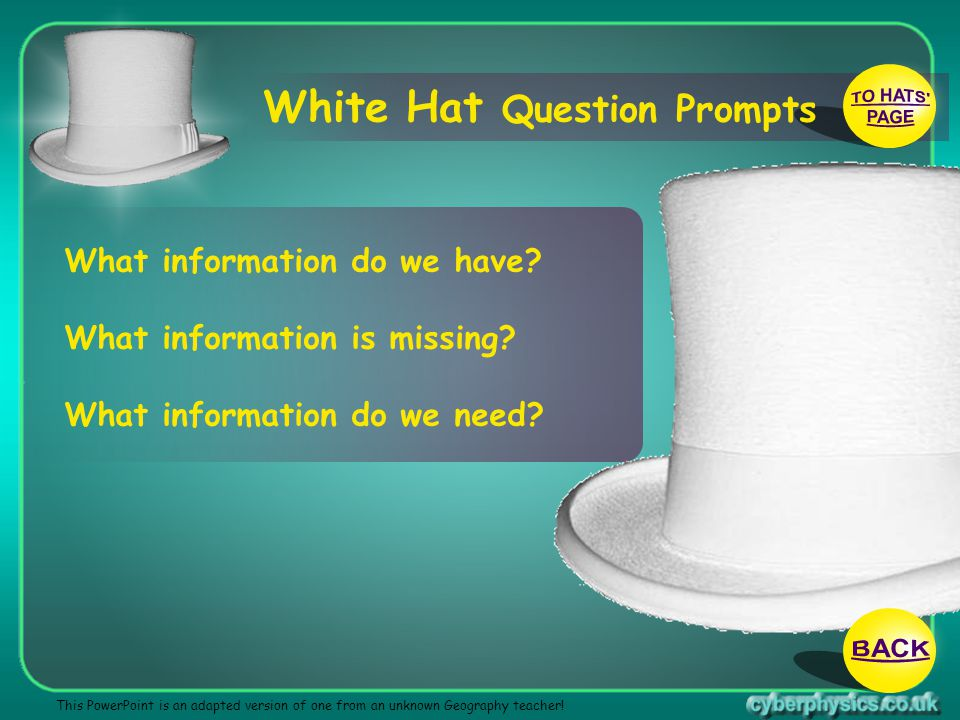 TO HATS PAGE BACK White Hat Question Prompts