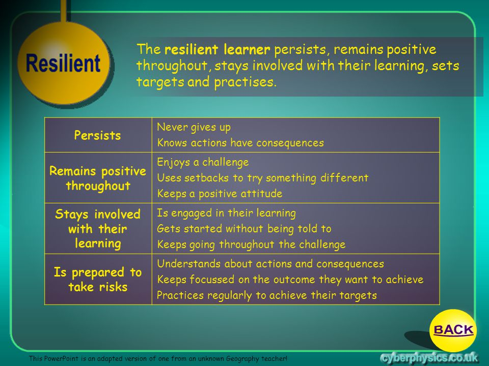 13/04/2017 The resilient learner persists, remains positive throughout, stays involved with their learning, sets targets and practises.