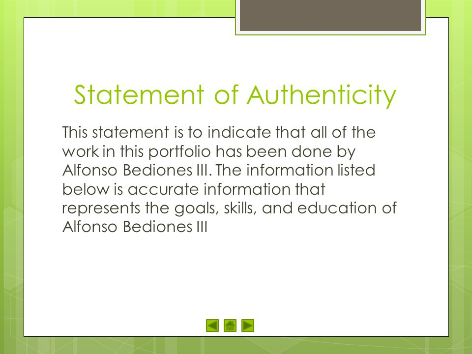 Statement of Authenticity