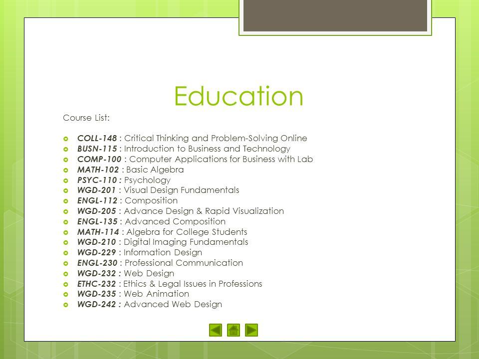 Education Course List: