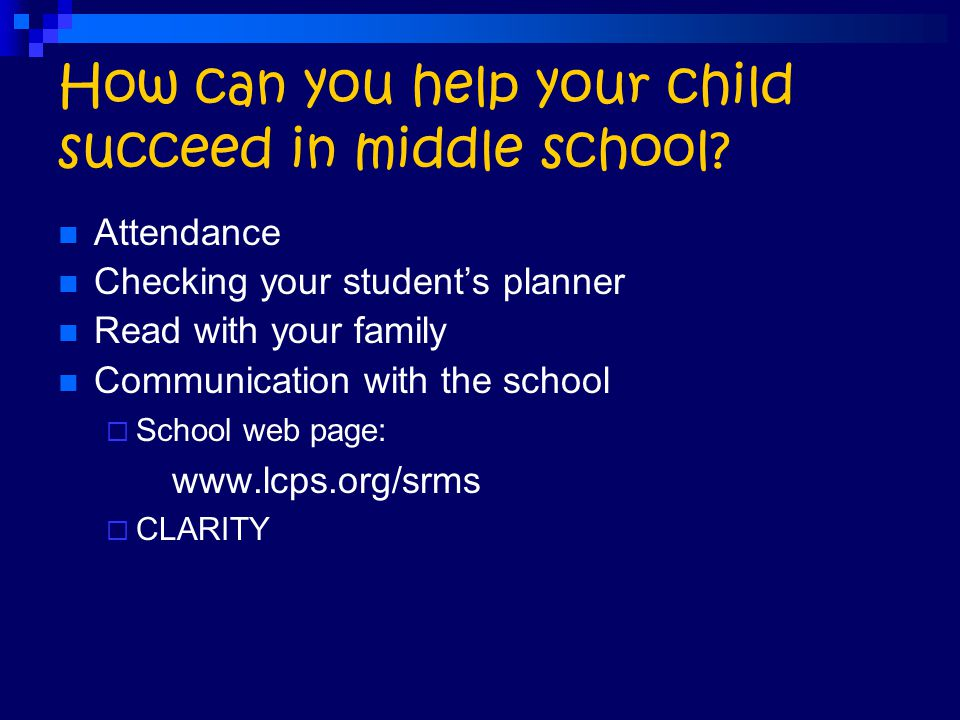 How can you help your child succeed in middle school