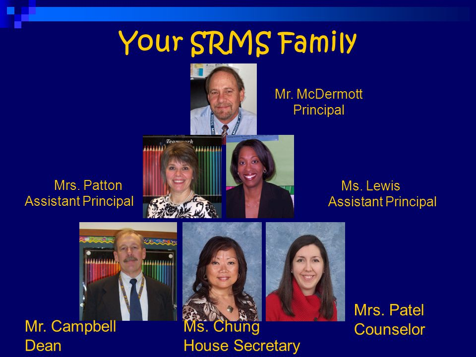 Your SRMS Family Mrs. Patel Counselor Mr. Campbell Dean Ms. Chung