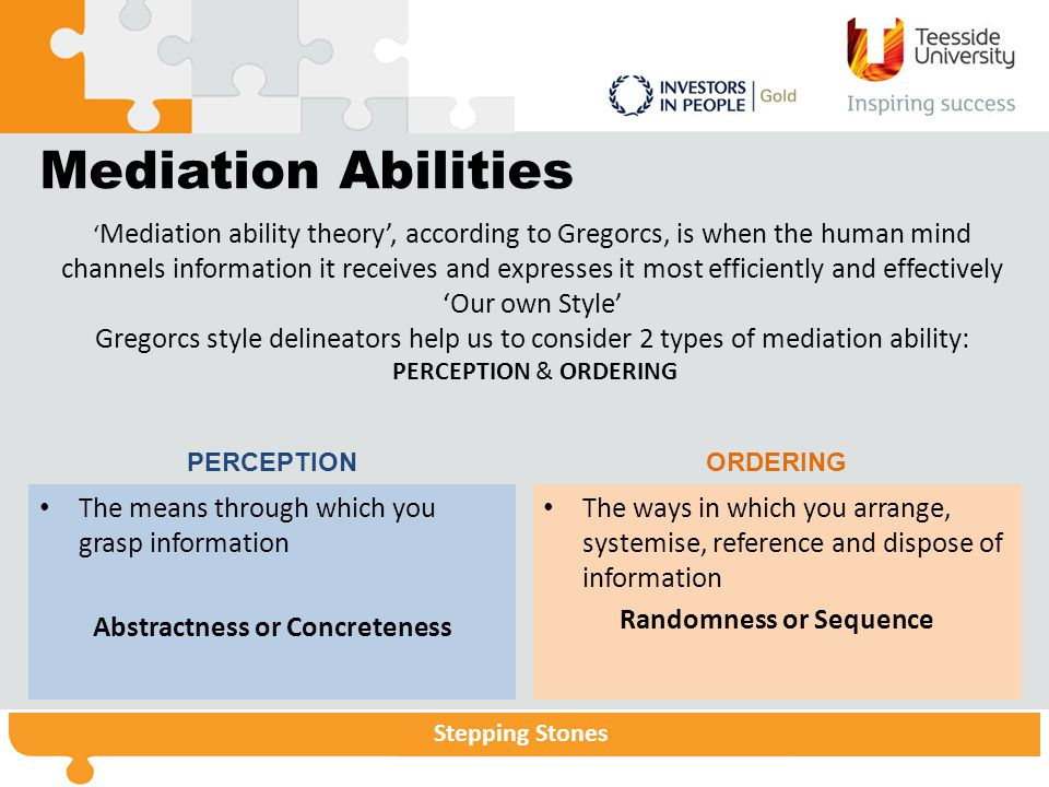 Abstractness or Concreteness Randomness or Sequence