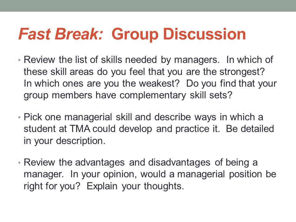 Fast Break: Group Discussion
