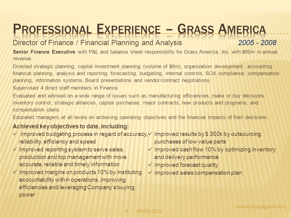 Professional Experience – Grass America