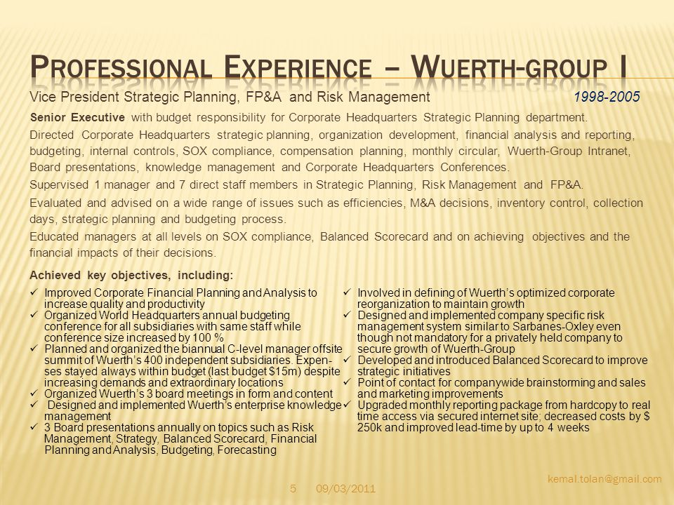 Professional Experience – Wuerth-group I