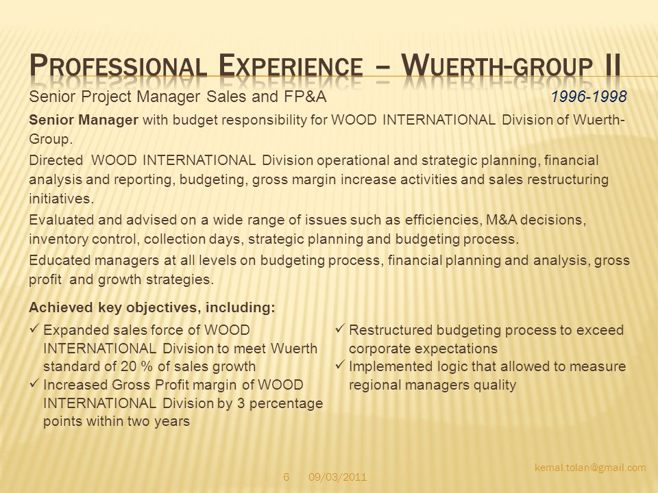 Professional Experience – Wuerth-group II