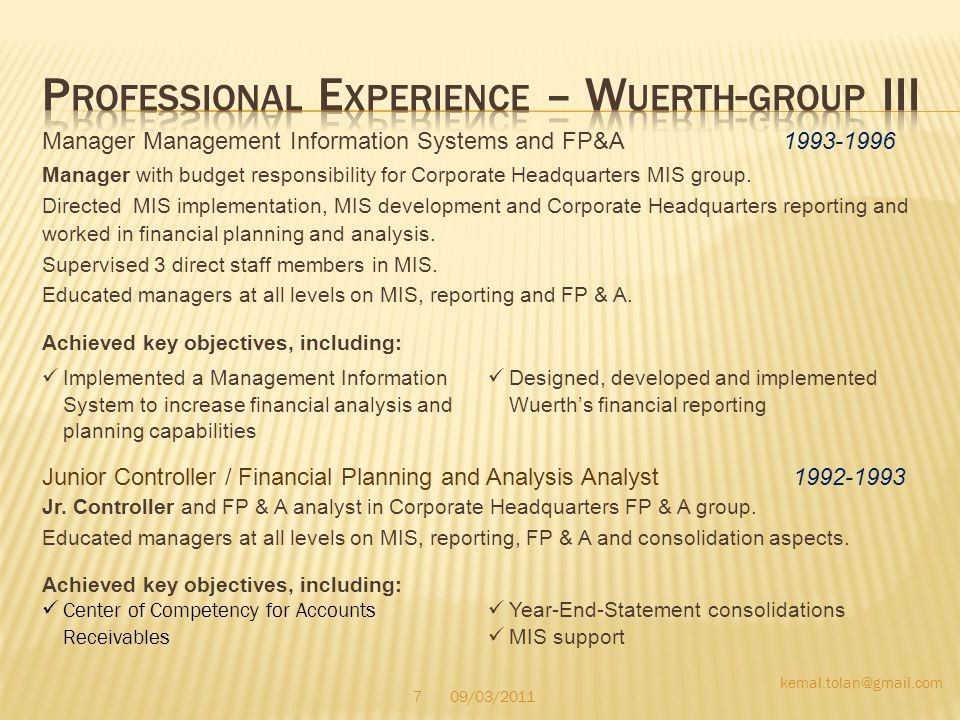 Professional Experience – Wuerth-group III