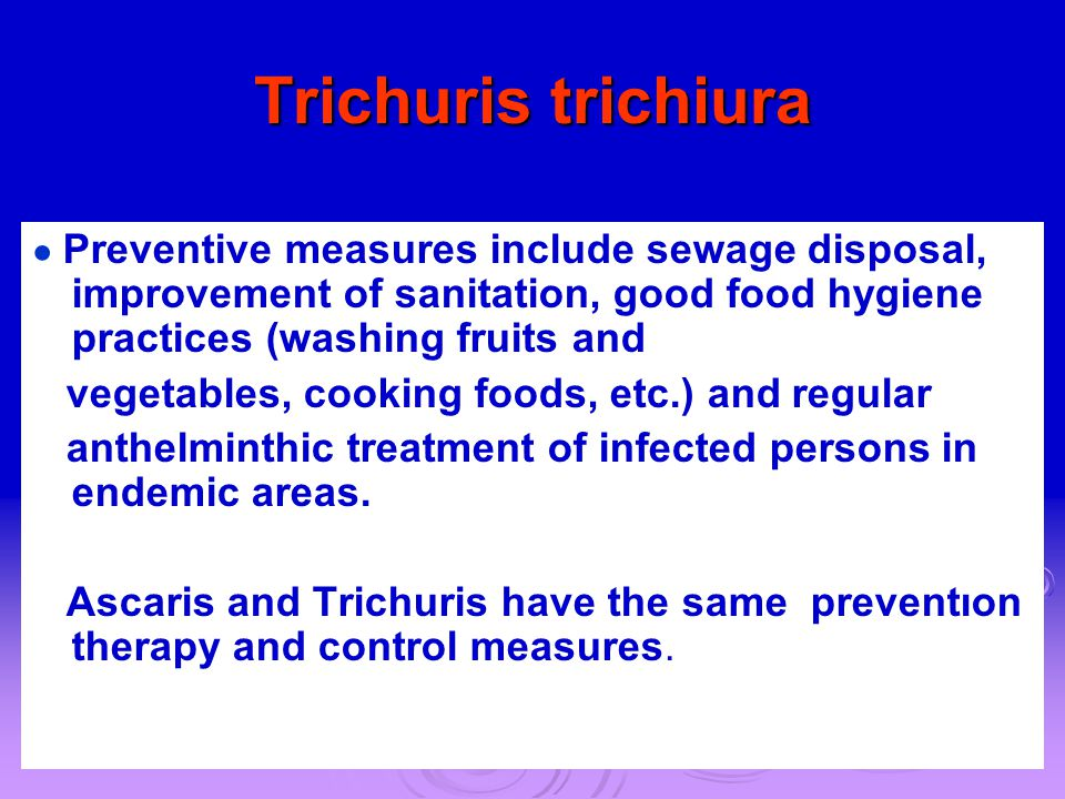 Trichuris trichiura vegetables, cooking foods, etc.) and regular