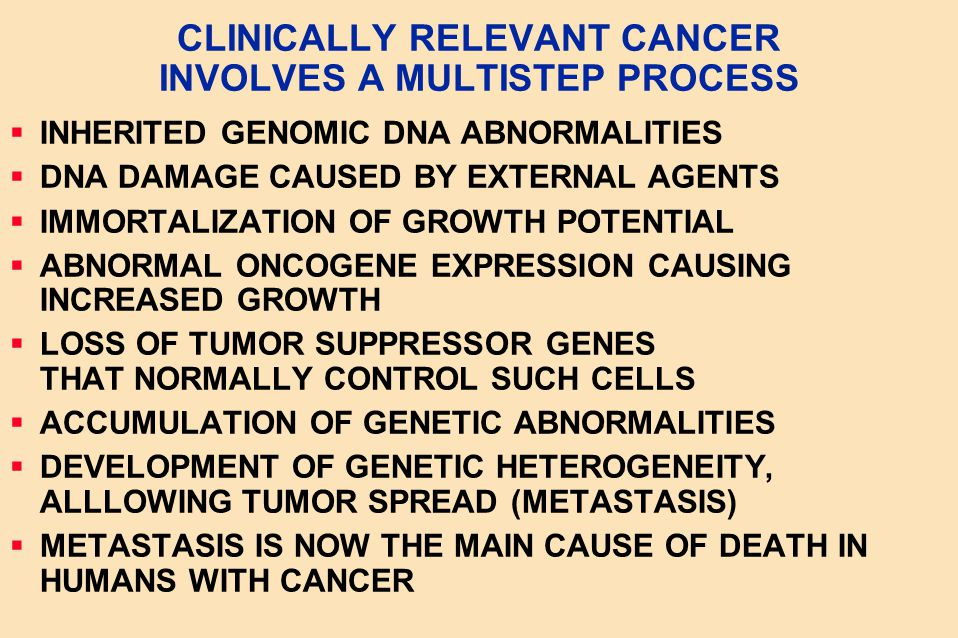 CLINICALLY RELEVANT CANCER INVOLVES A MULTISTEP PROCESS