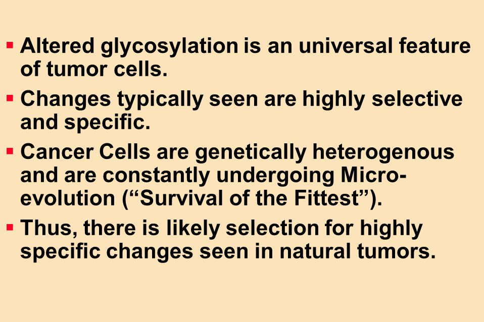 Altered glycosylation is an universal feature of tumor cells.
