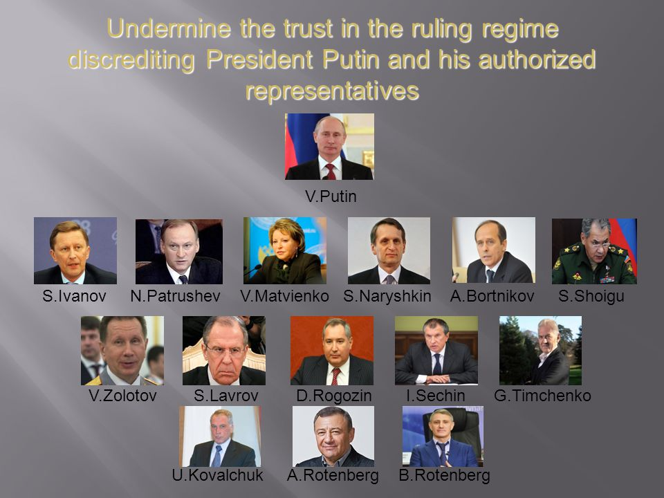 Undermine the trust in the ruling regime discrediting President Putin and his authorized representatives