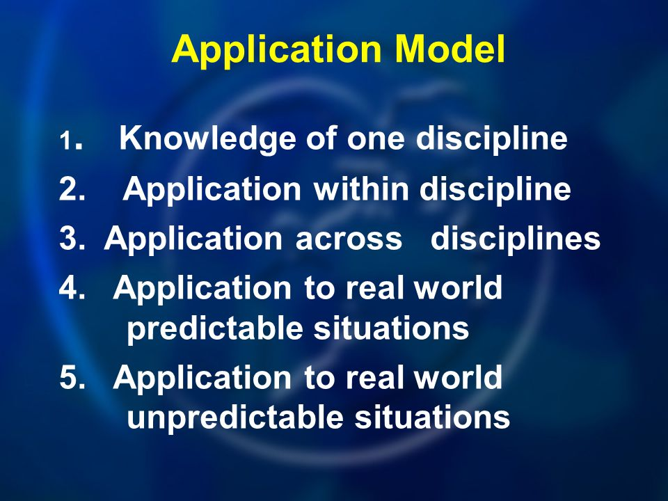 Application Model 2. Application within discipline