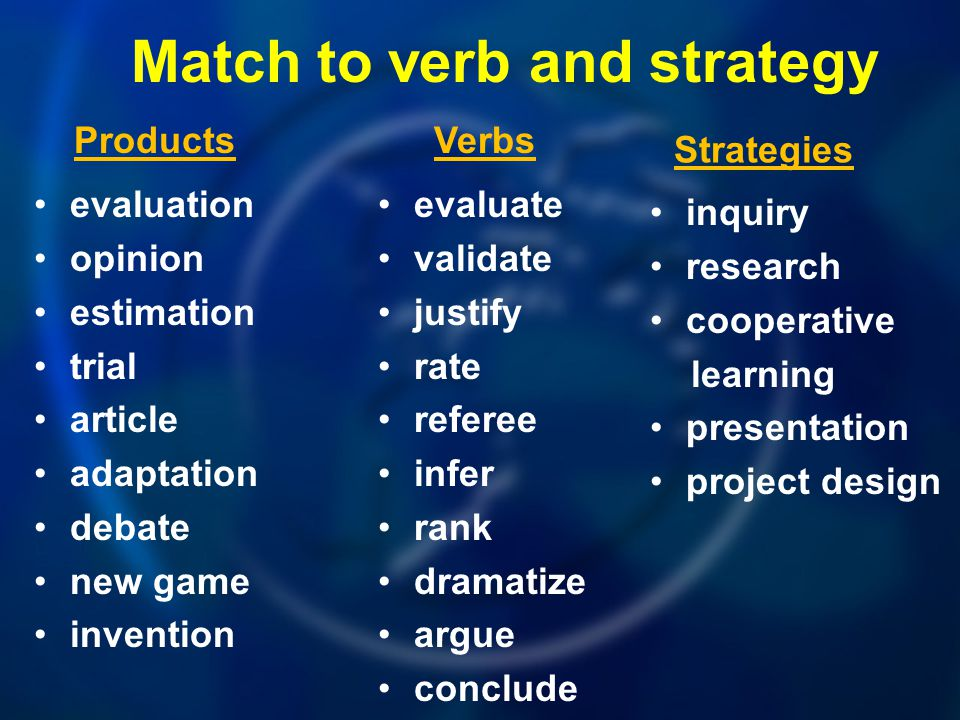 Match to verb and strategy