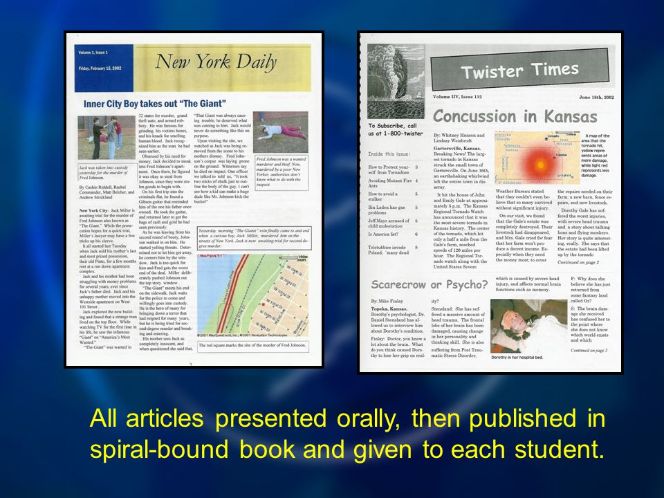 All articles presented orally, then published in spiral-bound book and given to each student.