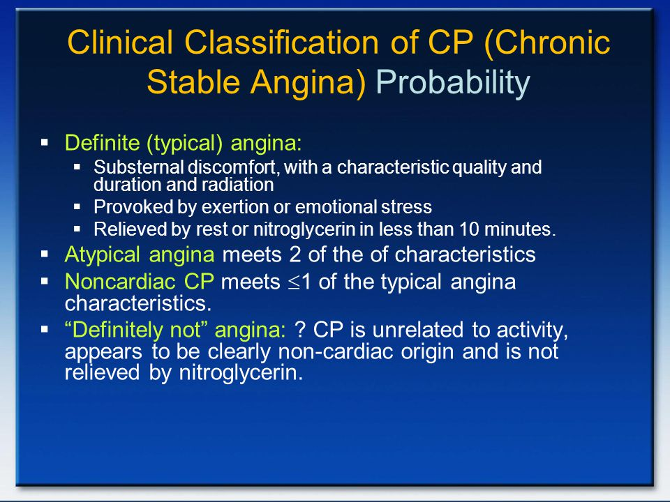 Clinical Classification of CP (Chronic Stable Angina) Probability