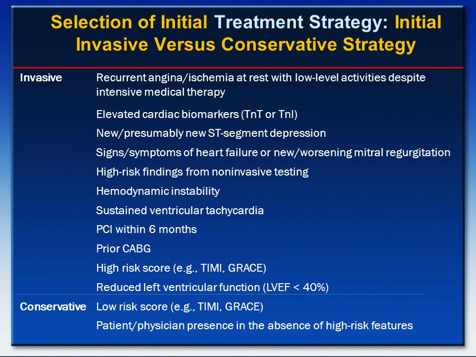 Selection of Initial Treatment Strategy: Initial Invasive Versus Conservative Strategy