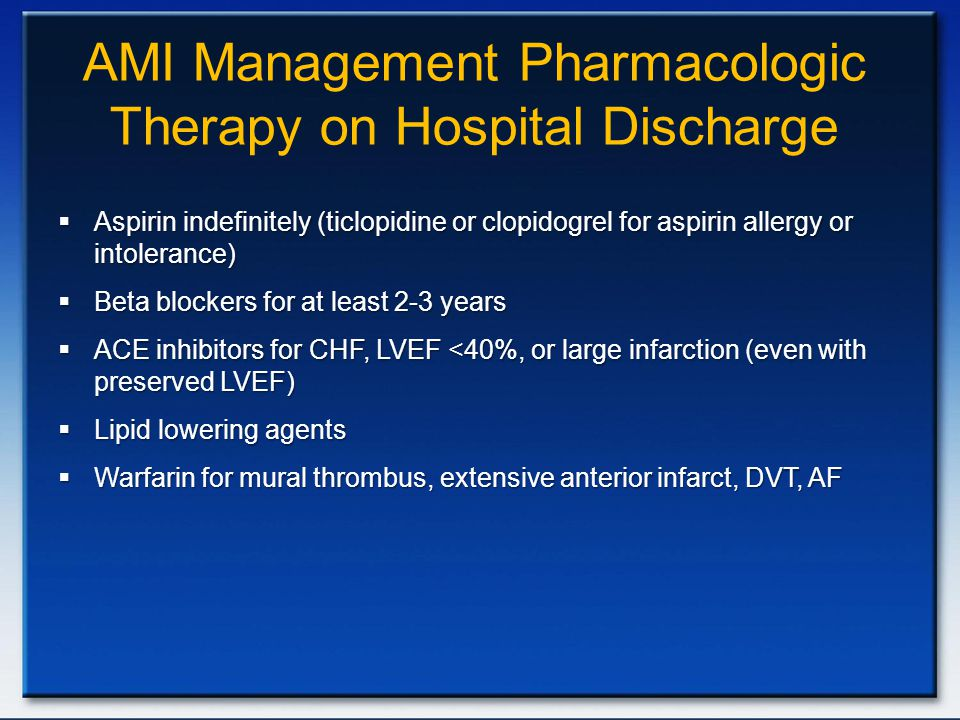 AMI Management Pharmacologic Therapy on Hospital Discharge
