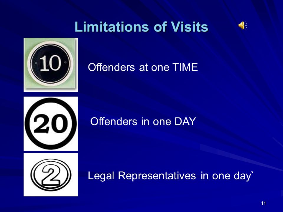 Limitations of Visits Offenders at one TIME Offenders in one DAY