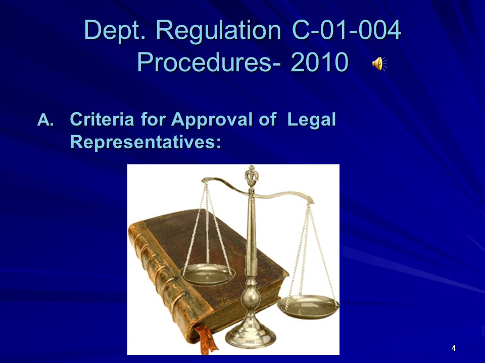 Dept. Regulation C-01-004 Procedures- 2010