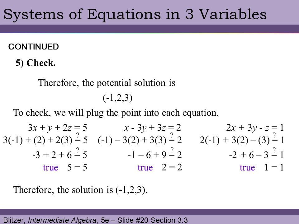 Systems of Equations in 3 Variables